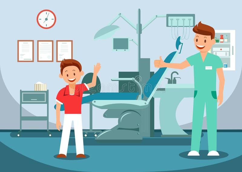 Pediatric Dentistry, Teeth Checkup Illustration. Little Happy Child and Cheerful Doctor Cartoon Characters. Dental Clinic, Stomatology Office Interior stock illustration