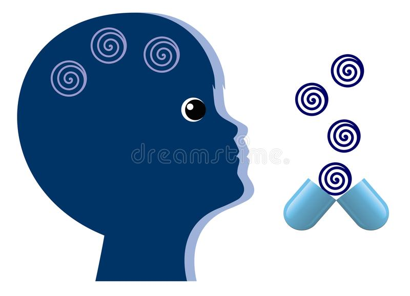 Pediatric Treatment of Mood Disorder. Child gets sedative drugs for calming down vector illustration