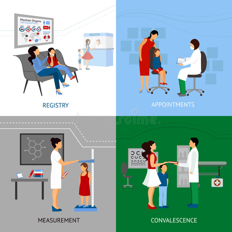 Pediatrician Design Concept. Set with registry and appointment flat icons vector illustration stock illustration