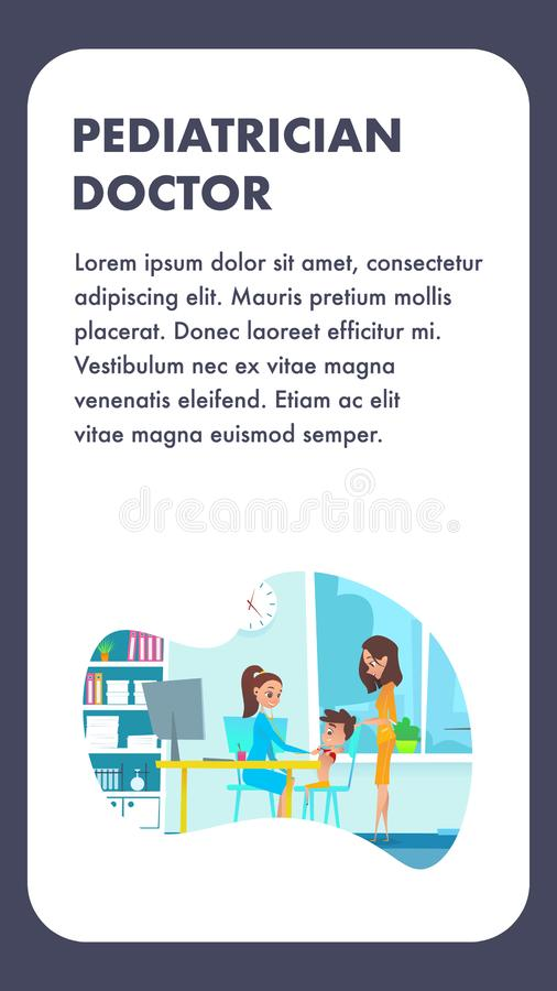 Pediatrician Doctor with Mom and Child Boy. Flat. Cartoon Illustration. Medical Doc Female Specialist Character Examining Children in Hospital Office Room. Lady royalty free illustration