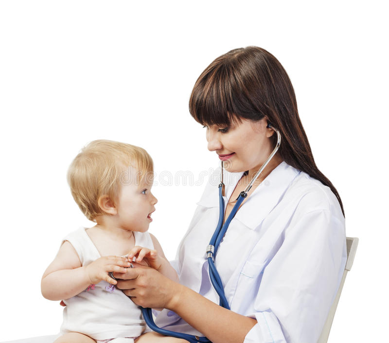 Pediatrician doctor with patient stock image