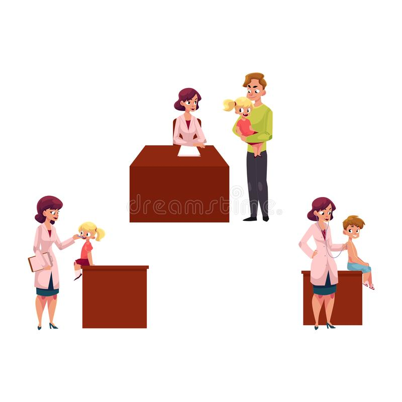 Pediatrician, doctor working with kids, chidren. Set of woman pediatrician, doctor doing medical exam, checkup for kids, children, cartoon vector illustration vector illustration