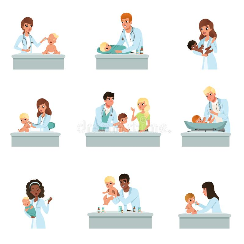 Pediatrician doctors doing medical examination of babies set, male and female doctors checkup for little kids vector. Illustrations on a white background stock illustration