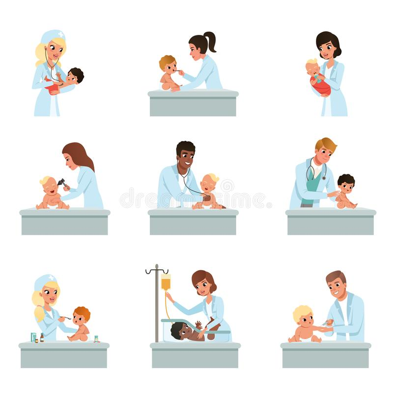 Pediatrician doctors doing medical examination of little kids set, male and female doctors checkup for babies vector. Illustrations on a white background stock illustration