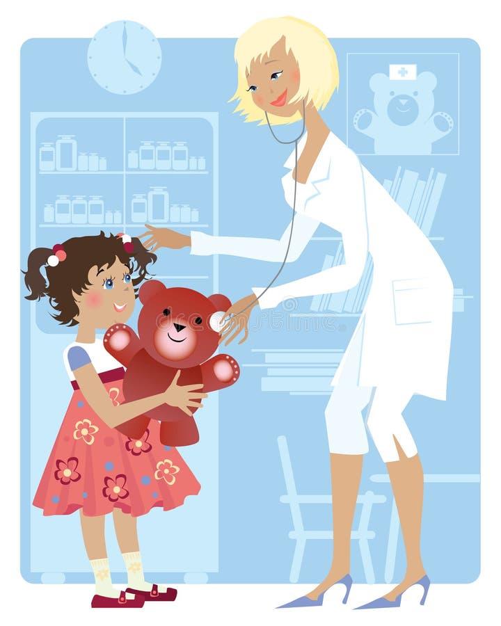 Pediatrician and girl vector illustration