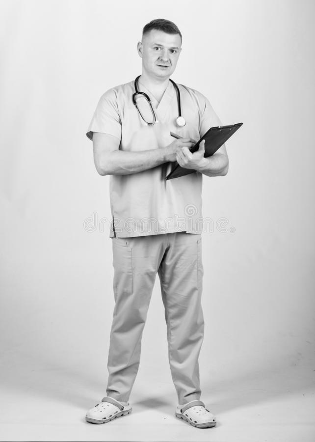Pediatrician intern. Medical tool. nurse laboratory assistant. family doctor. medicine and health. confident doctor with. Stethoscope. man in medical uniform royalty free stock images