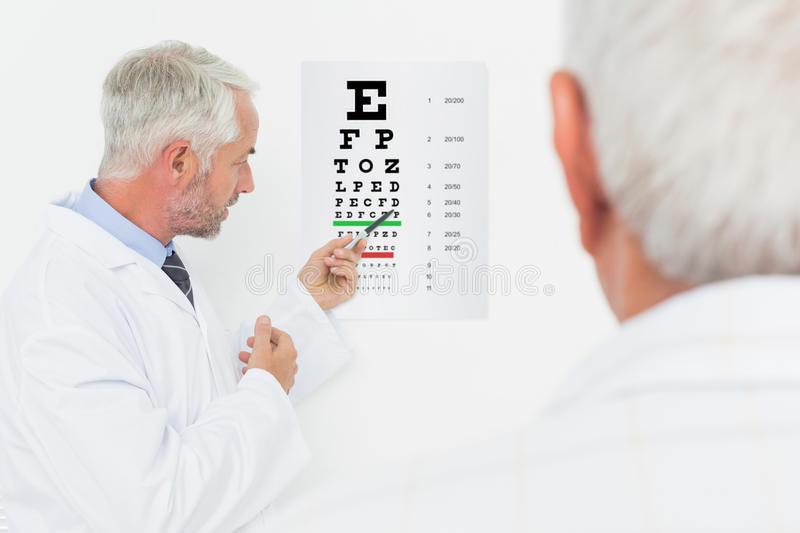 Pediatrician ophthalmologist with senior patient pointing at eye chart. Male pediatrician ophthalmologist with senior patient pointing at eye chart in medical royalty free stock photo