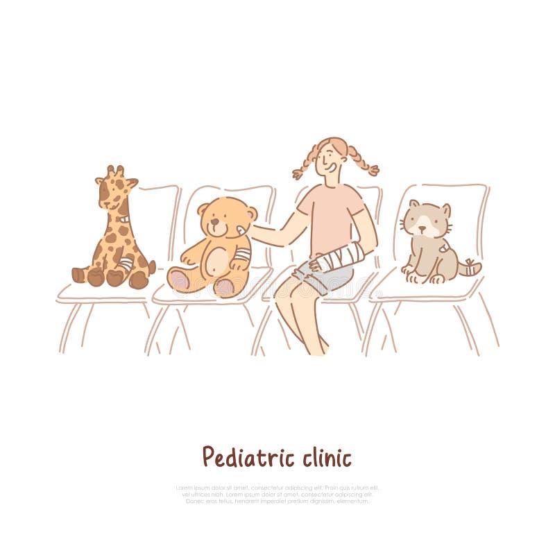 Pediatrische kliniek, traumatology, kind het speelspel van de artsenrol, meisje bij het ziekenhuisrij, zachte dierlijke speelgoed stock illustratie