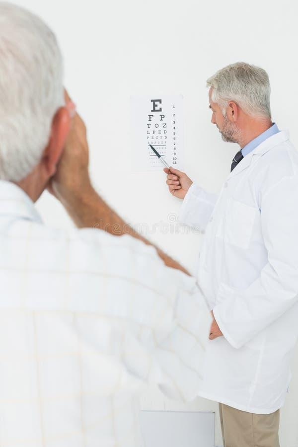 Pediatrisk ögonläkare med den höga patienten som pekar på ögondiagrammet arkivbilder