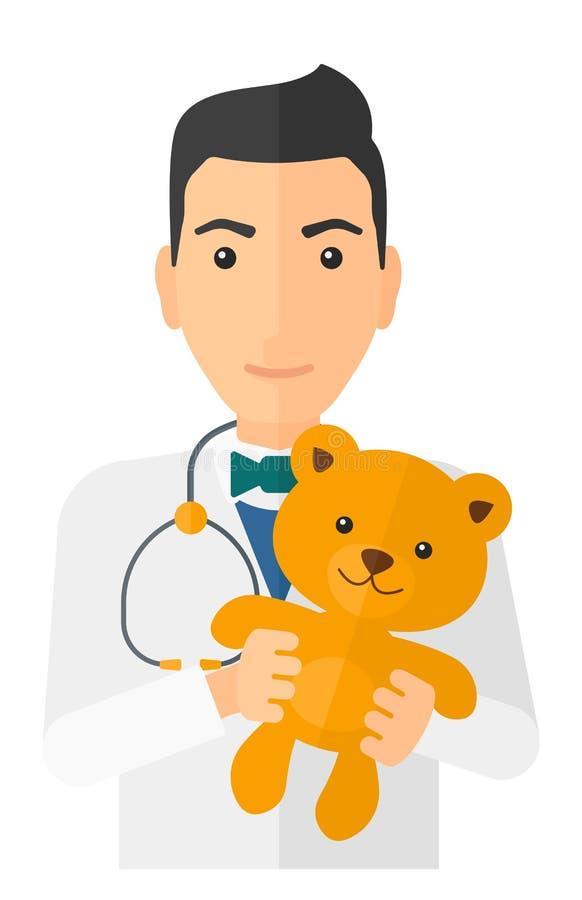 Pediatrisk hållande nallebjörn vektor illustrationer