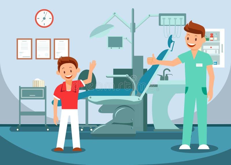 Pediatrisk tandläkekonst, tandundersökningillustration stock illustrationer