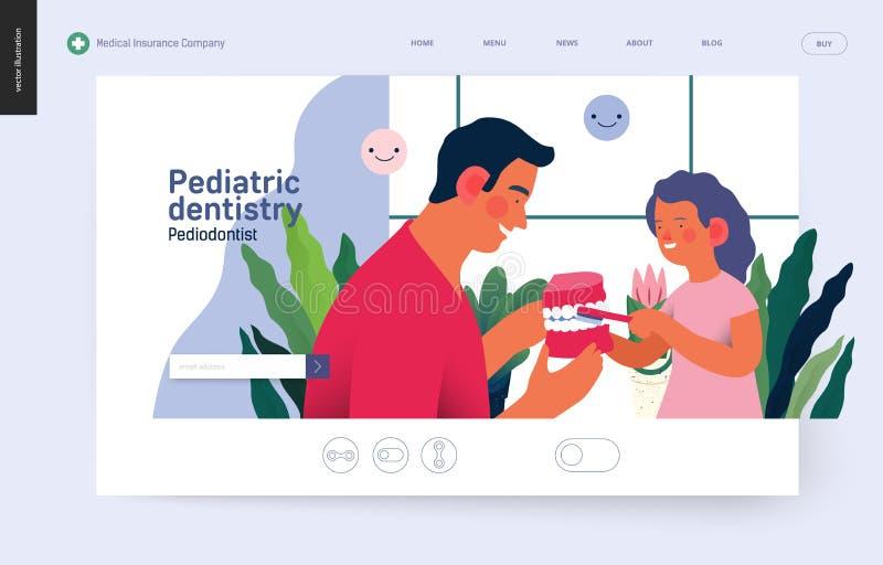 Pediatryczna dentystyka - ubezpieczenie medyczne sieci szablon royalty ilustracja