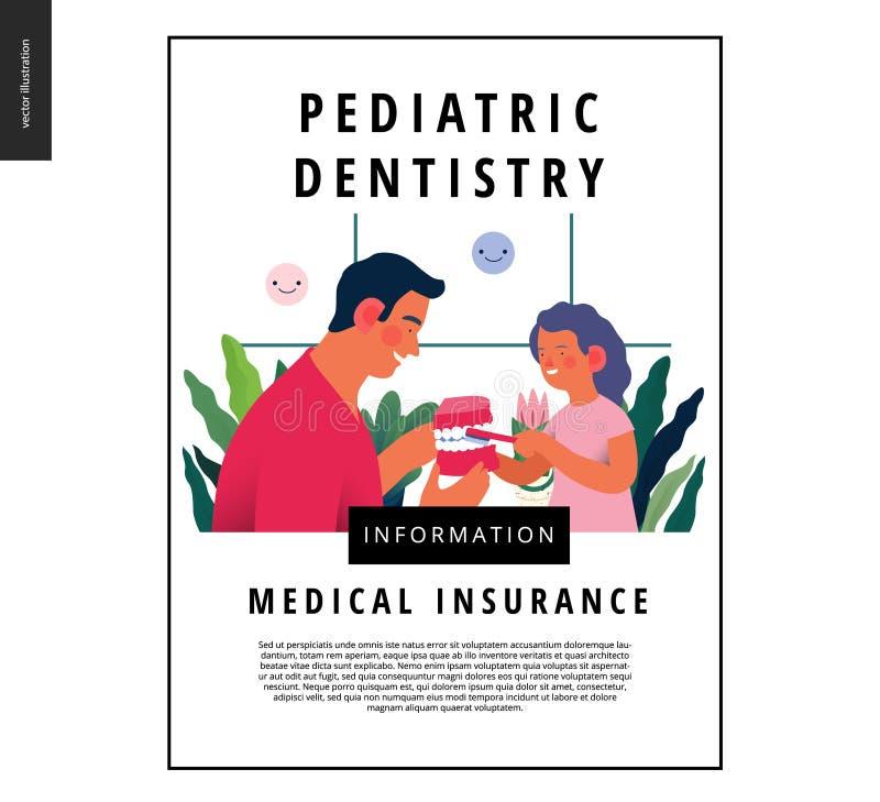Pediatryczna dentystyka - ubezpieczenie medyczne sieci szablon ilustracji