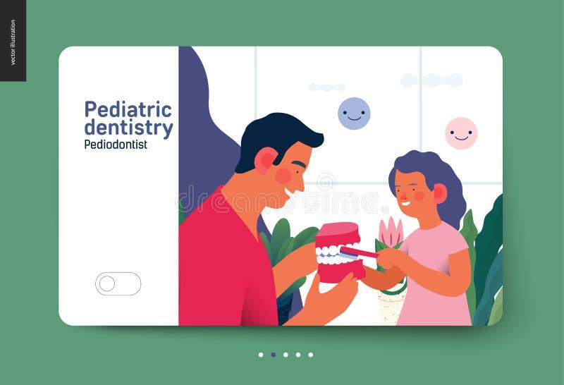 Pediatryczna dentystyka - ubezpieczenie medyczne sieci szablon ilustracja wektor