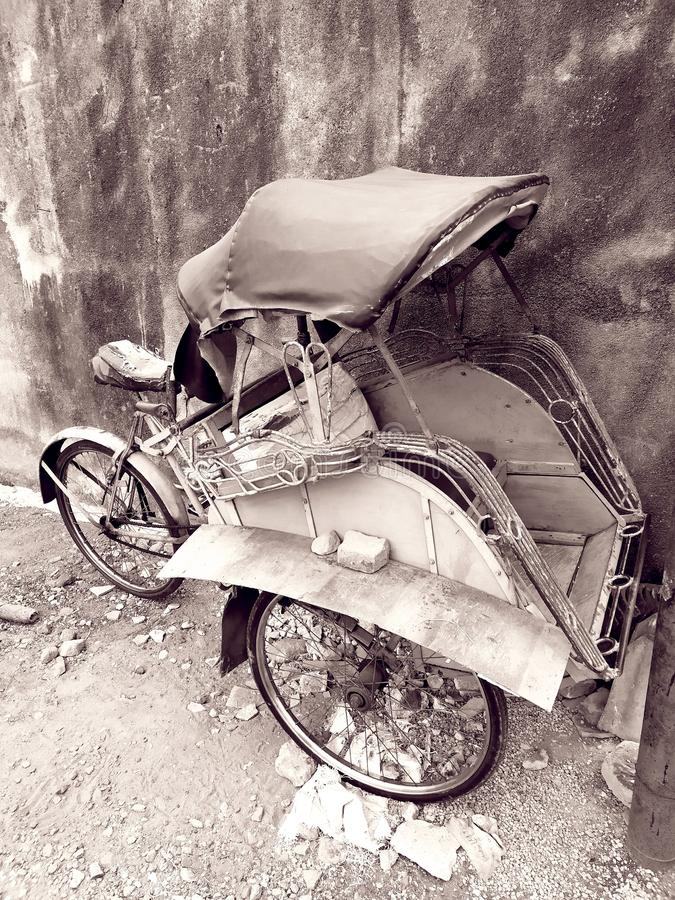 Pedicab classic transportation tools ancient times. Pedicab classic transportation tools ancient times, From Indonesia stock images