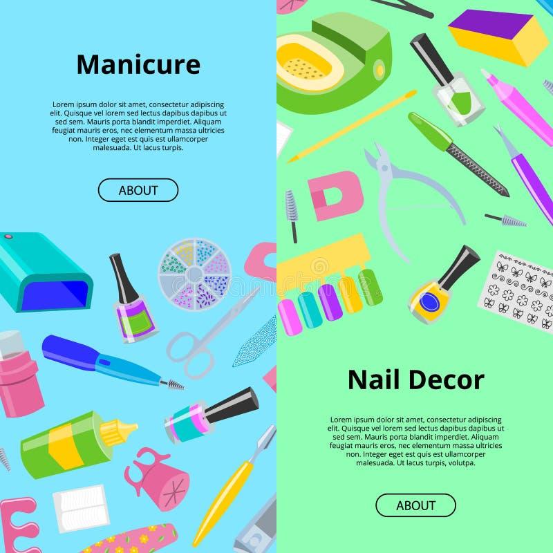 Pedicura inconsútil del vector del modelo de la manicura y clavo-fichero manicuring del accesorio o de las herramientas o tijeras ilustración del vector