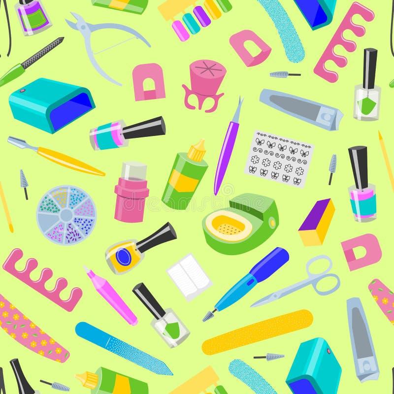 Pedicura inconsútil del vector del modelo de la manicura y clavo-fichero manicuring del accesorio o de las herramientas o tijeras stock de ilustración