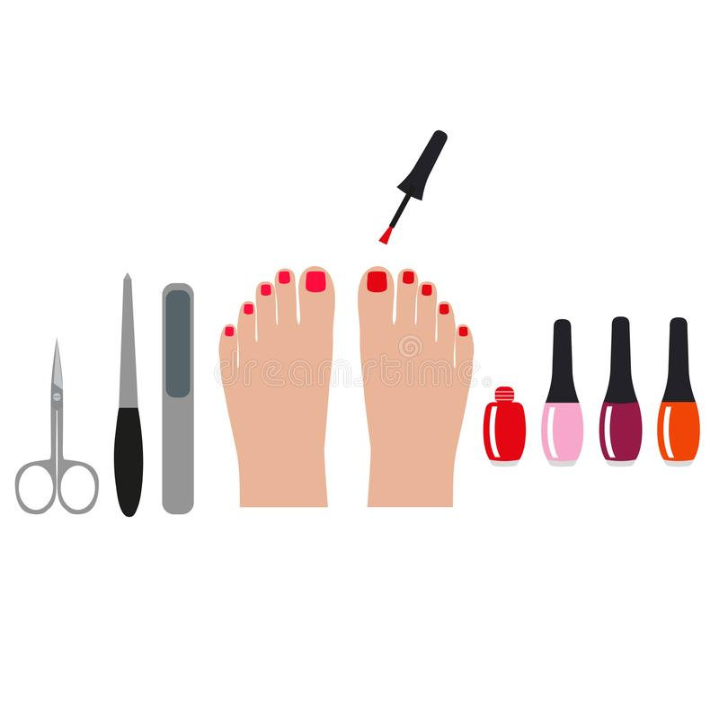 Pedicure banner with female feet and nails. colored illustration for your business stock illustration