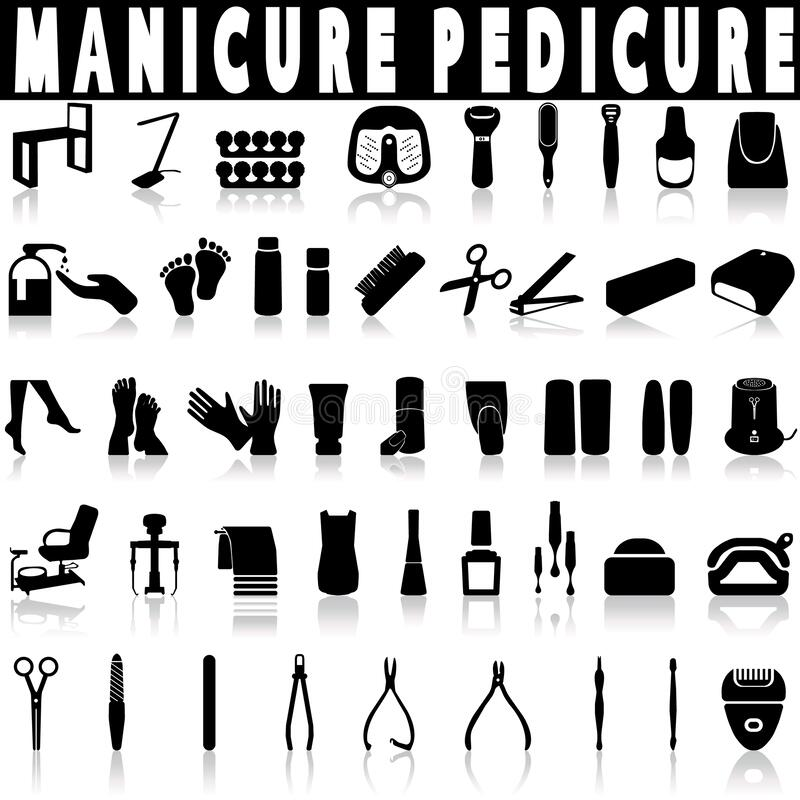 Pedicure and manicure vector icons set. royalty free stock images