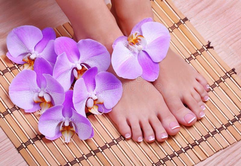 Pedicure met roze orchideebloemen op bamboemat stock foto's