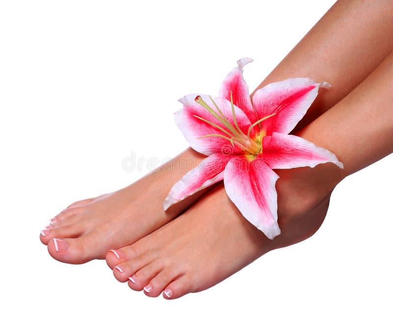 Pedicure. Mooie vrouwelijke voeten royalty-vrije stock afbeeldingen