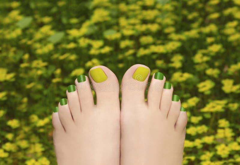 Pedicure nell'erba fotografia stock