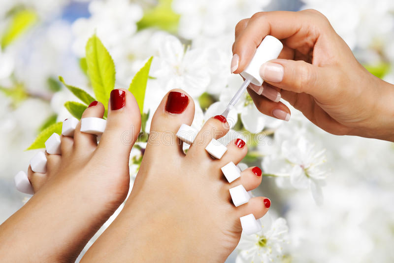 Pedicure in the spa salon royalty free stock image
