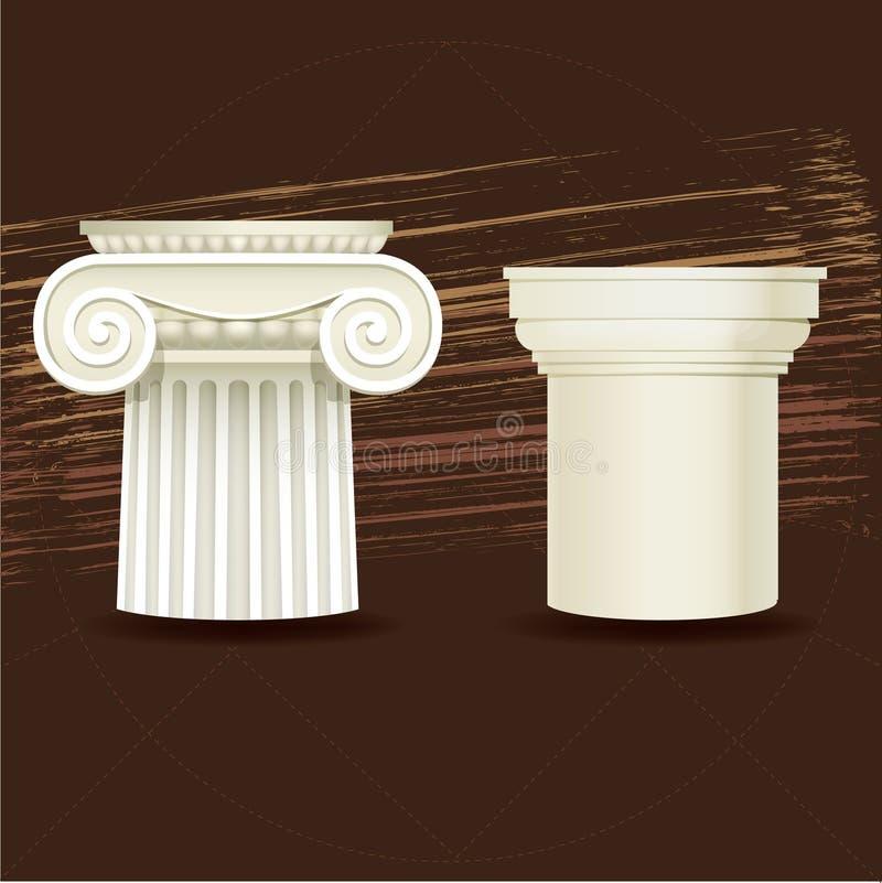 Pedido arquitectónico iónico e Doric ilustração stock
