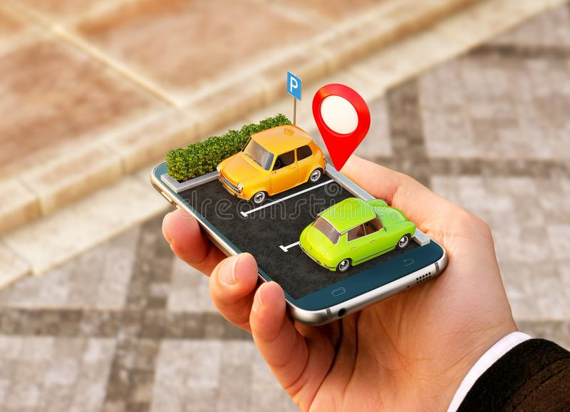 Pedido de Smartphone para o lugar de estacionamento livre da pesquisa em linha no mapa Navegação de GPS Conceito do estacionament ilustração do vetor