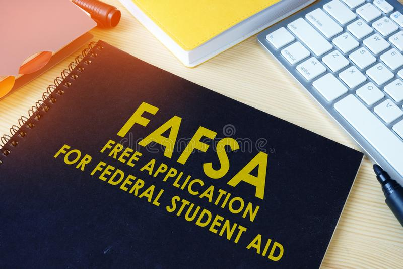 Pedido livre para o estudante federal Aid FAFSA imagens de stock