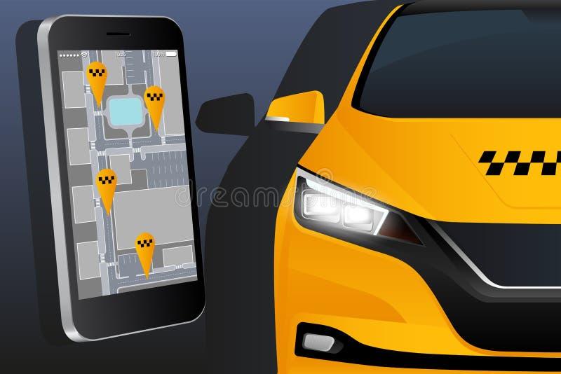 Pedido móvel para o táxi pedindo fotografia de stock