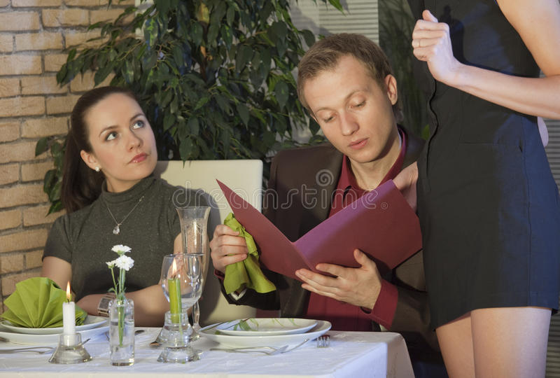 Pedido no restaurante imagens de stock