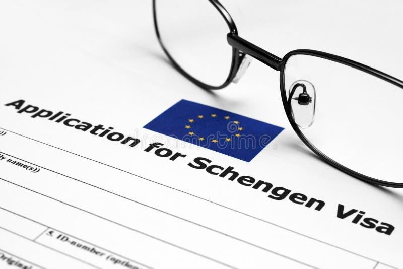 Pedido para o visto de Schengen imagem de stock