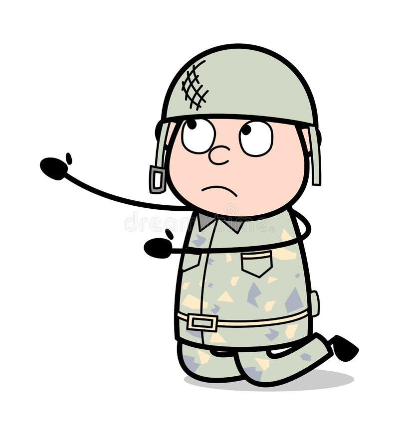 Pedido - soldado bonito Vetora Illustration dos desenhos animados do homem do ex?rcito ilustração royalty free