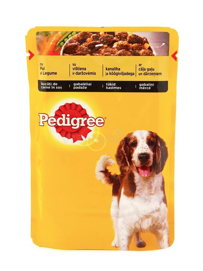 Pedigree, poches des aliments pour chiens humides images libres de droits
