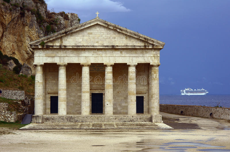 Pediment and columns of the church stock photography