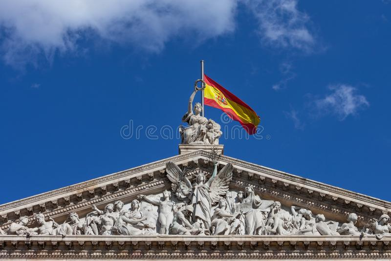 Pediment of the National Library of Spain in Madrid stock photos