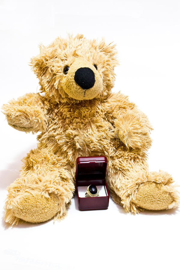 Pedir do urso da peluche casa-me fotos de stock