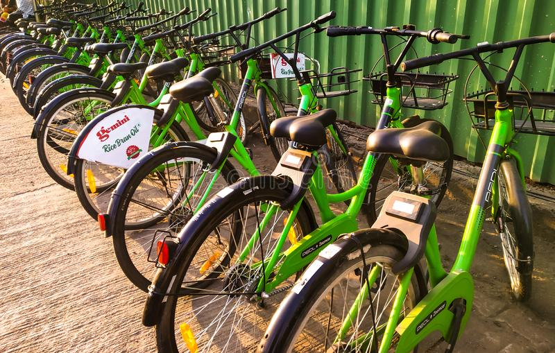 Pedl by zoomcar rental cycles on the streets of Pune, India in october 2018. Stepping towards to become a smart city royalty free stock photos