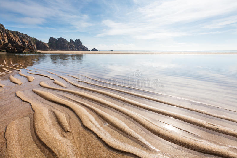 Pedn Vounder strand Cornwall England royaltyfri foto