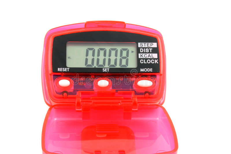 Pedometer. Close up of a Pedometer isolated on a white background stock image