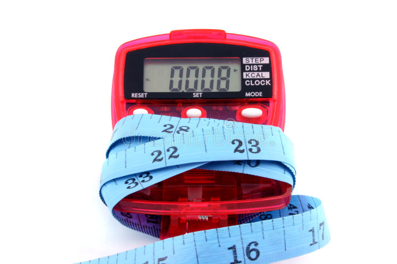 Pedometer with tape measure. Close up of a Pedometer and tape measure - isolated on a white background stock photos