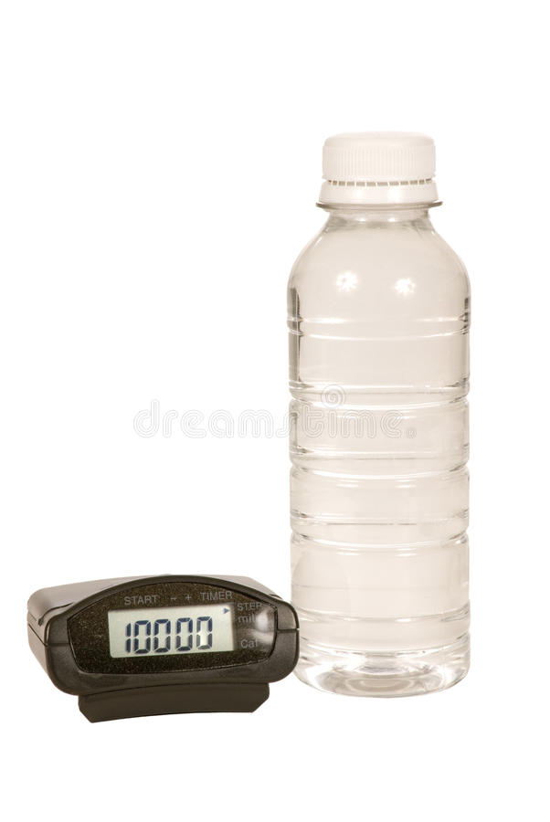 Download Pedometer and Water Bottle stock image. Image of 10000 - 18409597