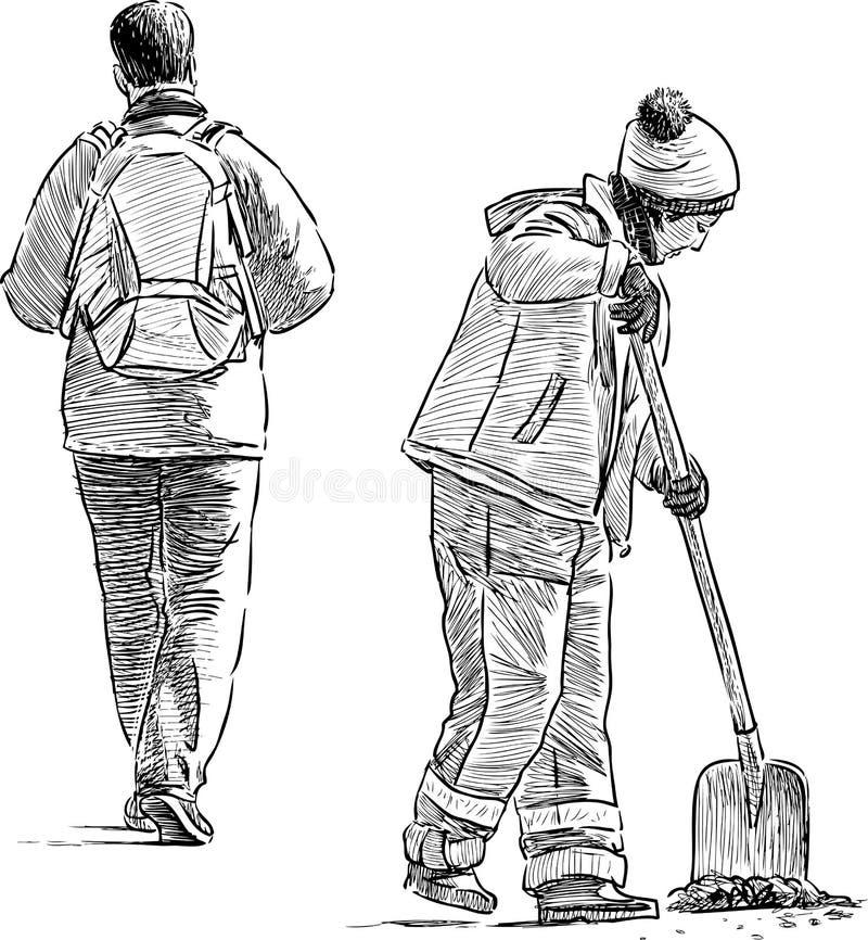 Download Pedone e giardiniere illustrazione vettoriale. Illustrazione di femmina - 55361905