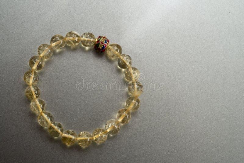 Pedra afortunada de quartzo de Rutillated do bracelete fotos de stock