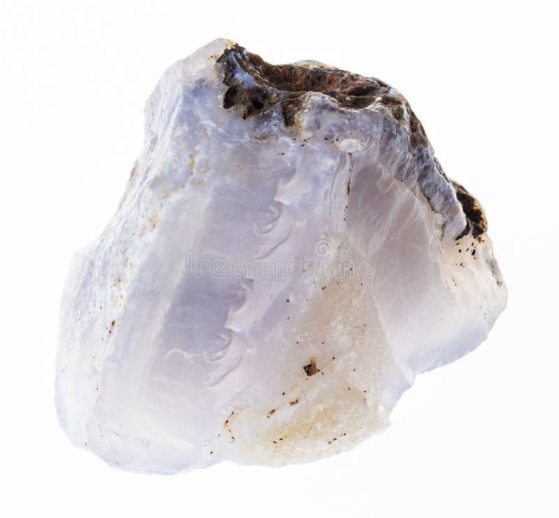 pedra azul crua da calcedônia no branco imagens de stock