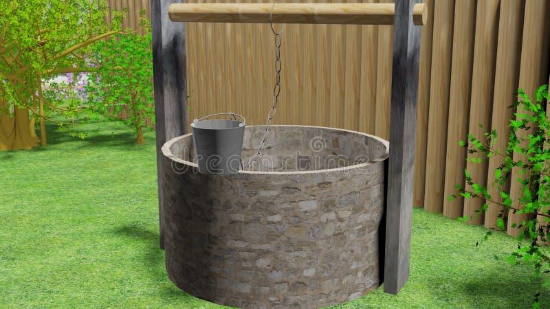Pedra bem velha no jardim 3d imagens de stock royalty free