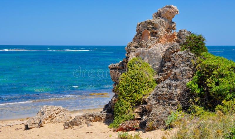 Pedra calcária na praia: Ponto Peron, Austrália Ocidental fotos de stock