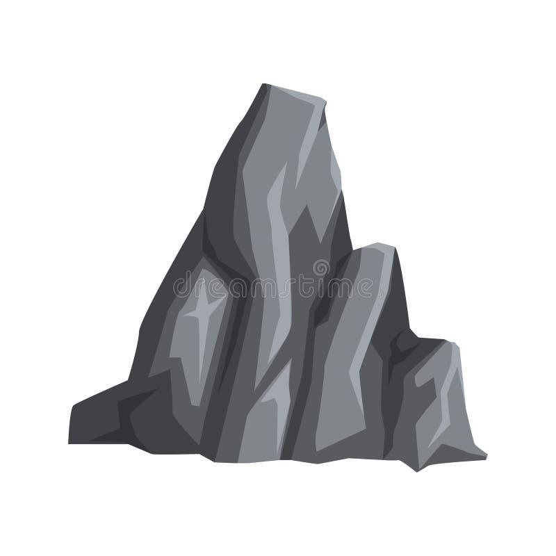 Pedra cinzenta com luzes e sombras Rocha maciça da montanha Projeto do vetor dos desenhos animados para o livro geological educac ilustração stock