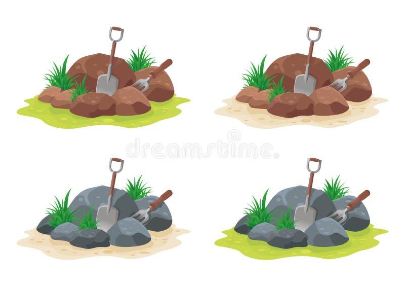 Pedra com pá e forquilha ilustração stock